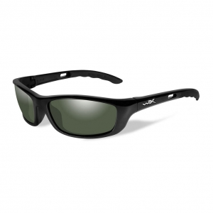 Wiley X P-17 Sunglasses, POLARIZED Smoke Green Lens / Gloss Black Frame