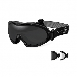 Wiley X NERVE Goggles, 2 Lens Package (Smoke Grey/Clear) / Matte Black Frame