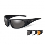 Wiley X ROMER 3 Sunglasses, 3 Lens Package (Smoke Grey/Clear/Light Rust) / Matte Black Frame