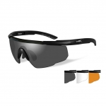 Wiley X SABER ADVANCED Sunglasses, 3 Lens Package (Smoke Grey/Clear/Light Rust) / Matte Black Frame