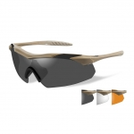 Wiley X WX VAPOR Sunglasses, 3 Lens Package (Smoke Grey/Clear/Light Rust) / Tan Frame