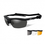 Wiley X GUARD Sunglasses, 3 Lens Package (Smoke Grey/Clear/Light Rust) / Matte Black Frame