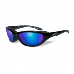 Wiley X AIRRAGE Sunglasses, POLARIZED Blue Mirror (Green) Lens / Gloss Black Frame