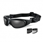Wiley X SG-1 Goggles, V-CUT, 2 Lens Package (Smoke Grey/Clear) / Matte Black Frame