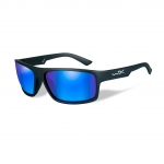 Wiley X WX PEAK Sunglasses, POLARIZED Blue Mirror (Green) Lens / Matte Black Frame