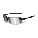 Wiley X WX TOBI Sunglasses, POLARIZED Silver Flash (Smoke Grey) Lens / Gloss Black Frame