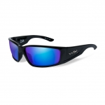 Wiley X ZAK Sunglasses, POLARIZED Blue Mirror (Green) Lens / Gloss Black Frame