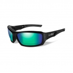 Wiley X WX ECHO Sunglasses, POLARIZED Emerald Mirror (Amber) Lens / Gloss Black Frame
