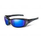 Wiley X WX GRAVITY Sunglasses, POLARIZED Blue Mirror (Green) Lens / Black Crystal Frame