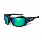 Wiley X WX KNIFE Sunglasses, POLARIZED Emerald Mirror (Amber) Lens / Matte Black Frame