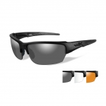 Wiley X WX SAINT Sunglasses, 3 Lens Package (Smoke Grey/Clear/Light Rust) / Matte Black Frame