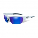 Wiley X WX SAINT Sunglasses, POLARIZED Blue Mirror (Green) Lens / Gloss White Frame