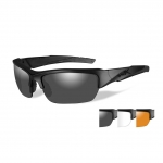 Wiley X WX VALOR Sunglasses, 3 Lens Package (Smoke Grey/Clear/Light Rust) / Matte Black Frame