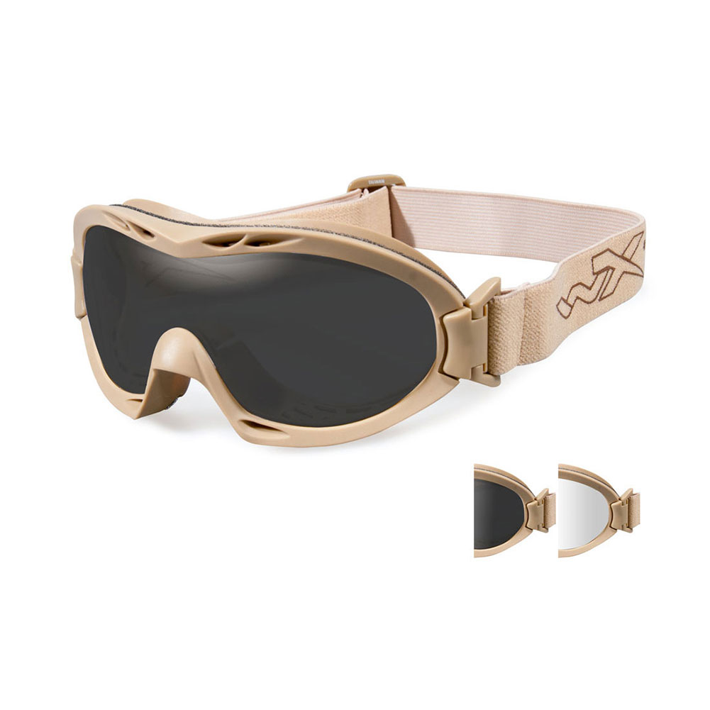11b2cbef4bf5 Wiley X NERVE Goggles, 2 Lens Package (Smoke Grey/Clear) / Tan Frame ...